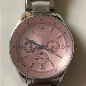 Fossil Watch Silver With Pink Face